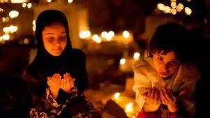 muslim children praying during shab e barat