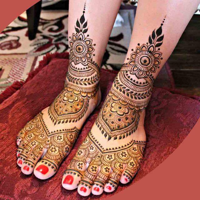 bridal leg mehndi designs
