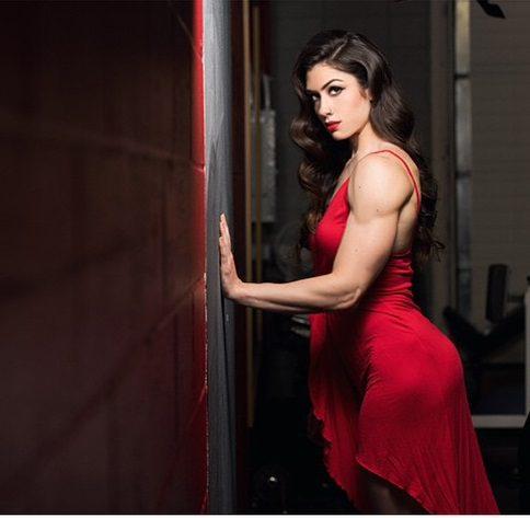 Natasha Aughey in red dress