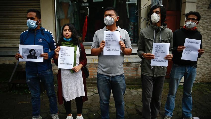 Nepali Students protest against Chines interference in Nepal