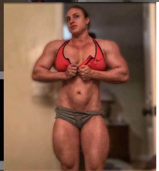 Kaitlyn Vera in red nike sports bra