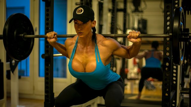 cindy during work out in her gym