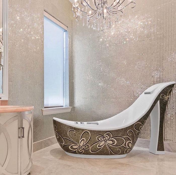 stone bathtub in bathroom