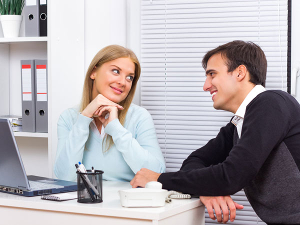 couple at work place or office
