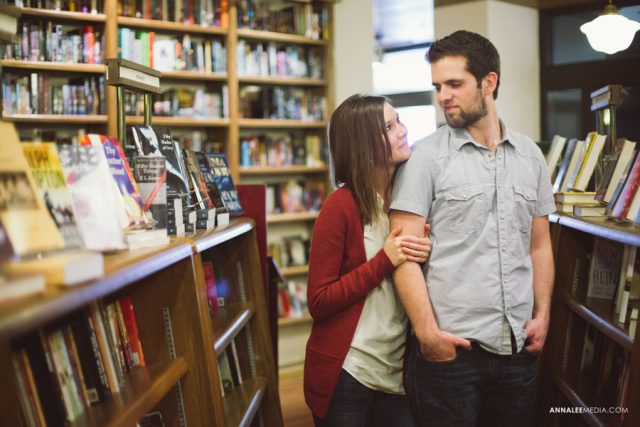 love couple at book store or library