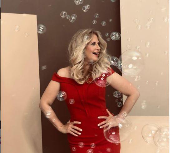 Barbara Schöneberger beautiful pic in red dress