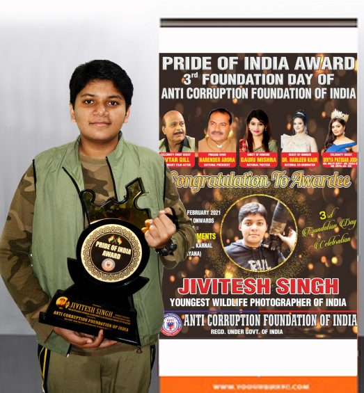 jivitesh singh india youngest wildlife photographer awarded pride of india