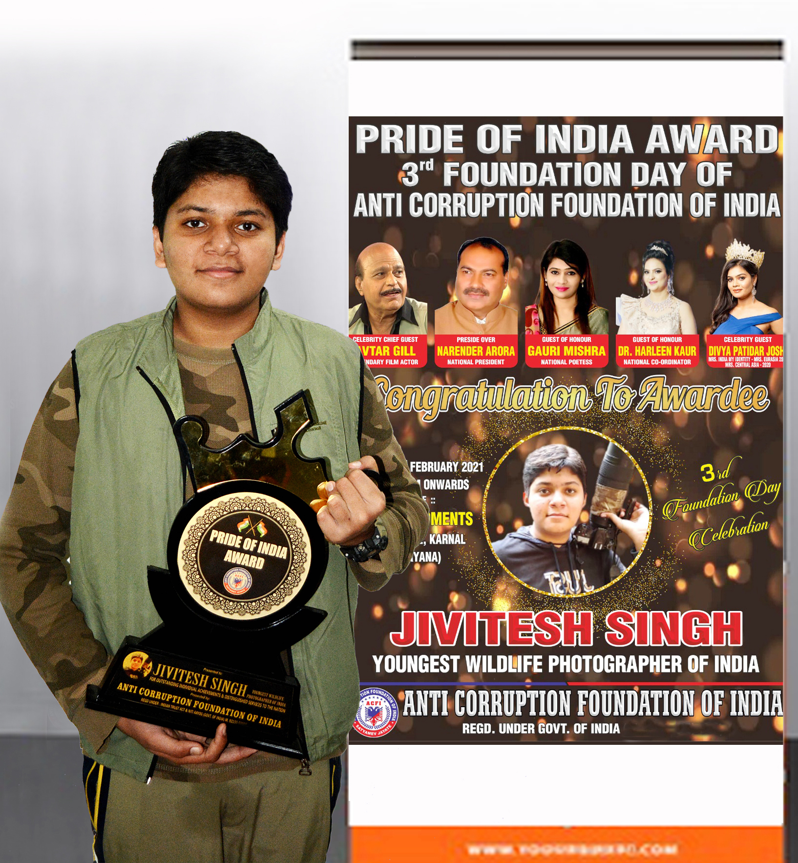 Jivitesh Singh,the Youngest Wildlife Photographer of India is Honoured with Pride of India Award 2021