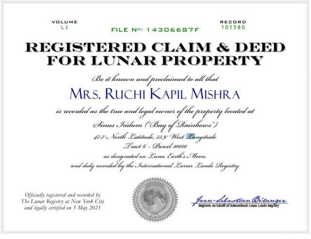land registration certificate on moon by kapil ruchi mishra