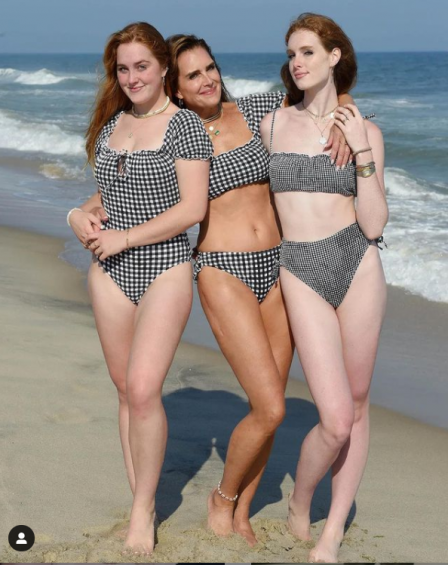 Brooke Shields with her both daughters
