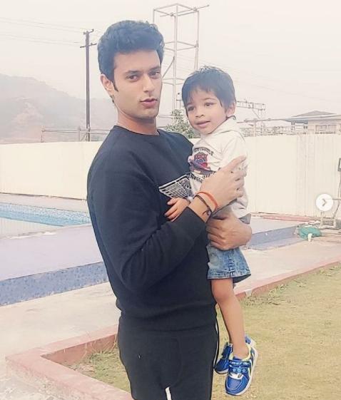 Shivam dube with his nephew