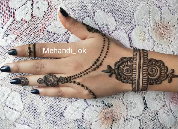 Jhaler or chain mehndi designs