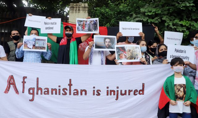 Afghan nationals during a protest against the Taliban's take over in Afghanistan